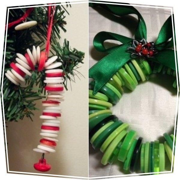 Manualidades de Navidad: adornos para el arbol con botones